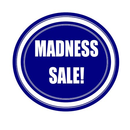 madness: Madness sale white stamp text on blueblack