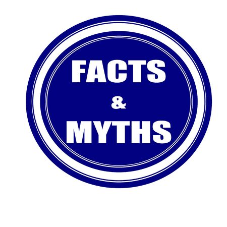 myths: Facts and Myths white stamp text on blueblack
