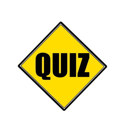 interrogate: QUIZ black stamp text on yellow
