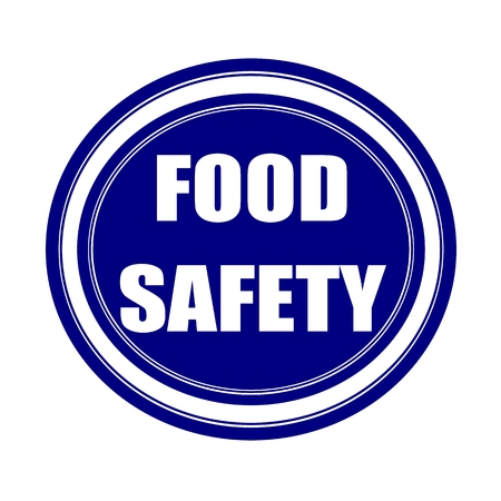 tommy: Food safety white stamp text on blueblack