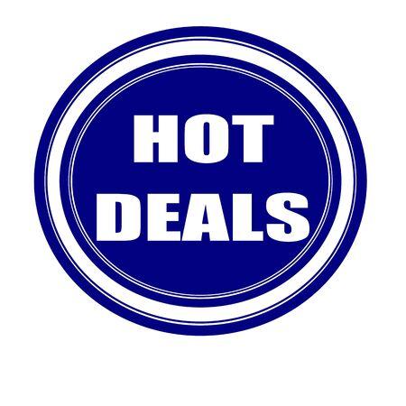 hot deals: Hot deals white stamp text on blueblack