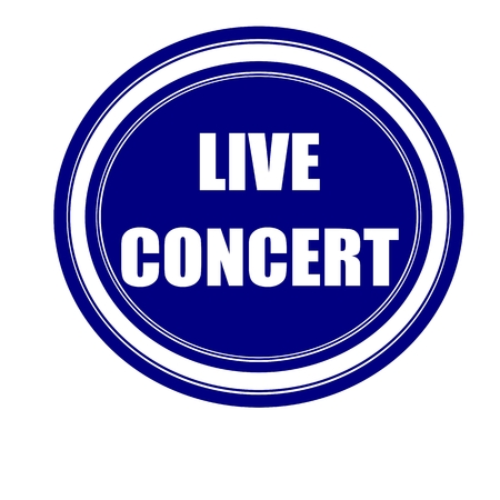 transmitted: Live concert white stamp text on blueblack Stock Photo