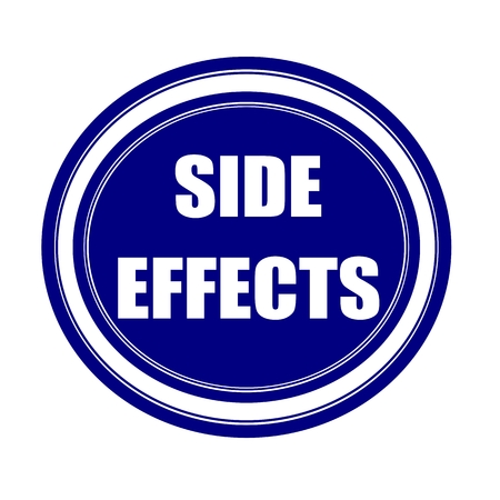 side effect: Side effect white stamp text on blueblack