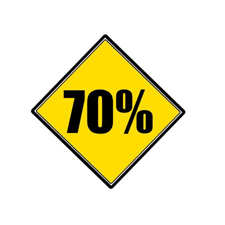 70: 70 percent black stamp text on yellow Stock Photo