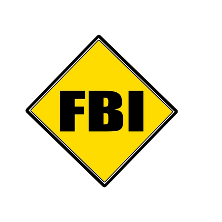 conspire: FBI black stamp text on yellow Stock Photo