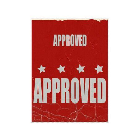 proved: approvato il testo timbro bianco su sfondo rosso