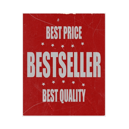 bestseller: Bestseller white stamp text on red background