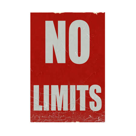 limitation: No limits white stamp text on red background