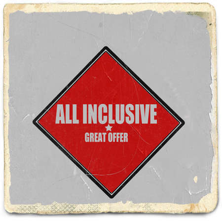 inclusive: All inclusive white stamp text on red background Stock Photo
