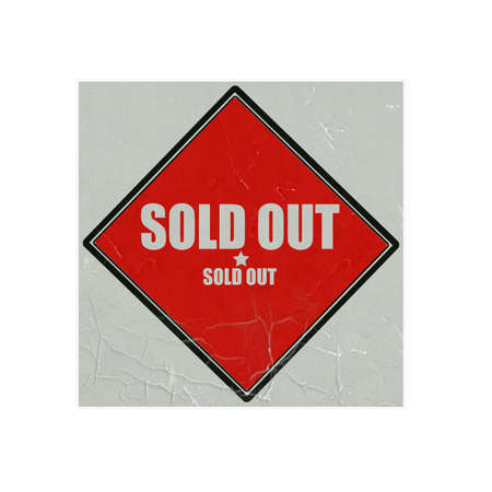 temporarily: Sold out  white stamp text on red background