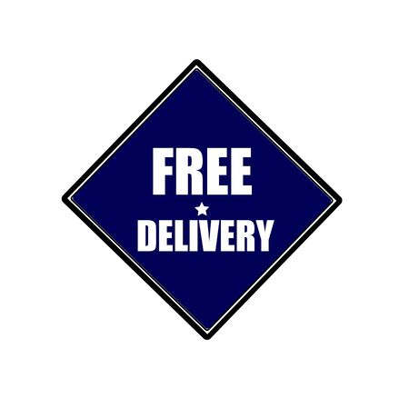 paper delivery person: Free delivery white stamp text on blue black background Stock Photo