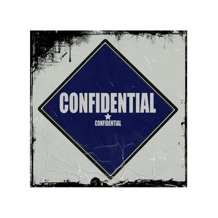 Confidential white stamp text on blue black background photo