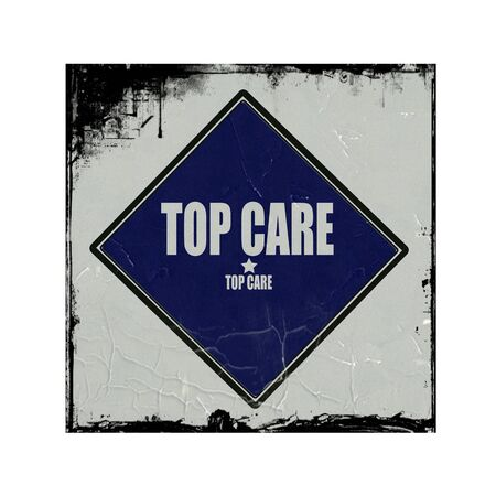 solicitude: Top Care white stamp text on blue black background