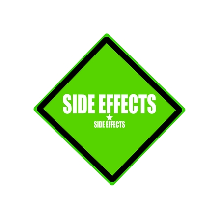 adverse: Side effect  white stamp text on green background