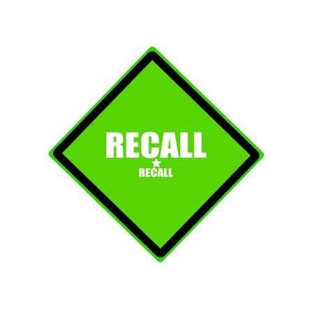 recall: Recall white stamp text on green background