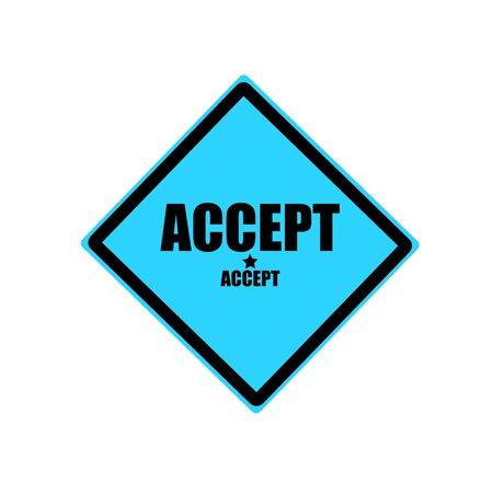 accept: Accept black stamp text on blue background