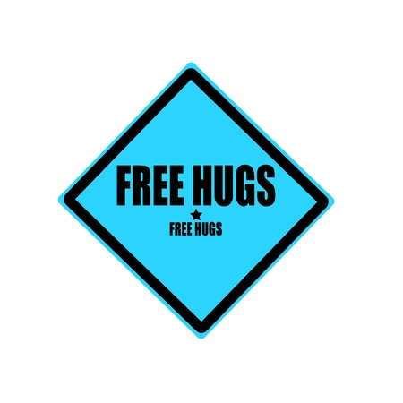peace stamp: Free hugs black stamp text on blue background