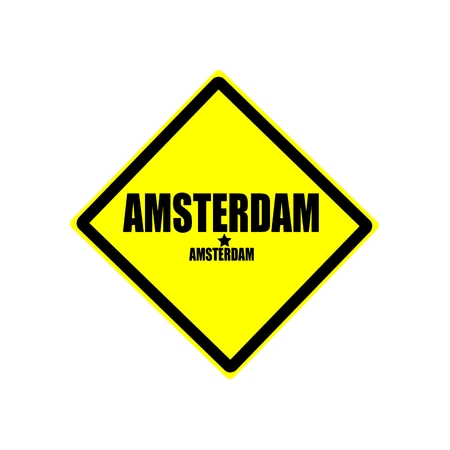 Amsterdam black stamp text on yellow background photo
