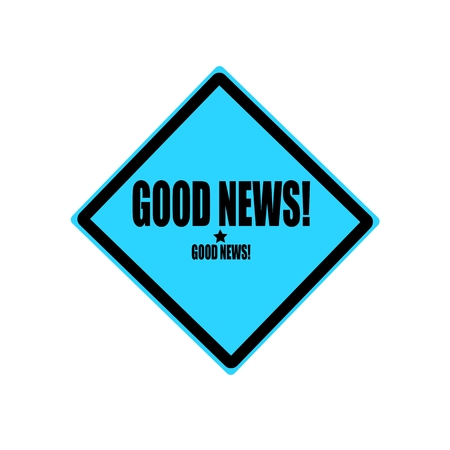 good news: Good news black stamp text on blue background