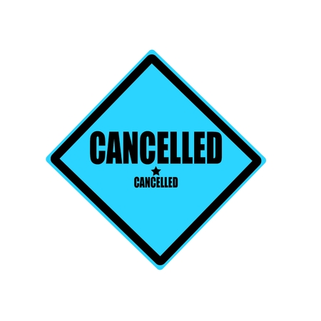 Cancelled black stamp text on blue background Imagens - 39561811