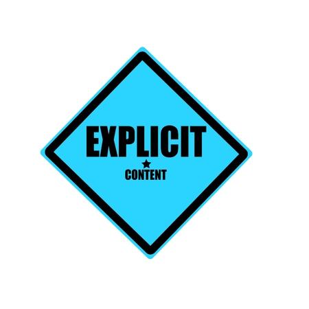 explicit: Explicit content black stamp text on blue background