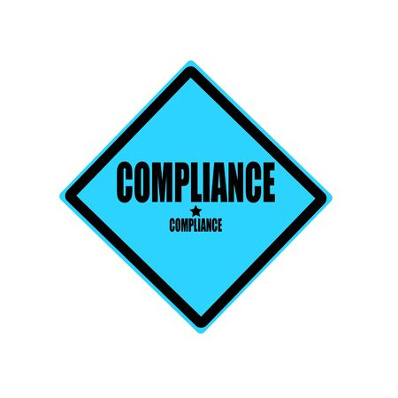 Compliance black stamp text on blue background