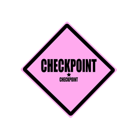 grant: Checkpoint black stamp text on pink background
