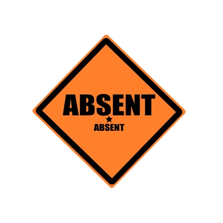 absent: Absent black stamp text on orange background