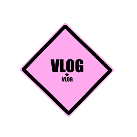 old diary: Vlog black stamp text on pink background