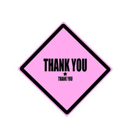 agradecimiento: Gracias sello texto negro sobre fondo de color rosa