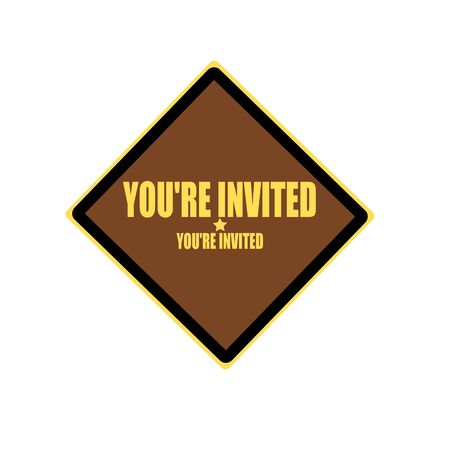 you are invited: You are invited yellow stamp text on brown background Stock Photo