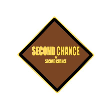 chance: Second chance yellow stamp text on brown background Stock Photo