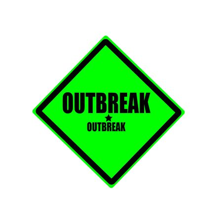outbreak: Outbreak black stamp text on green background Stock Photo