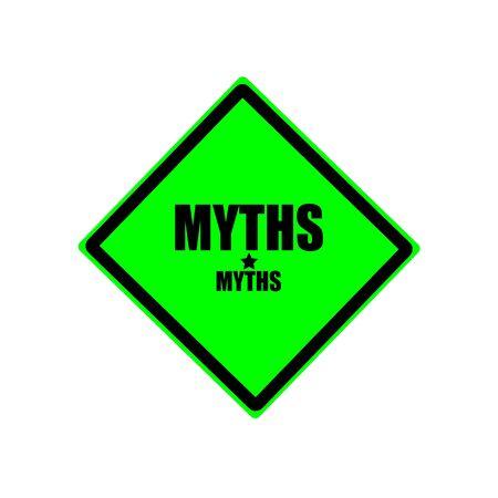 myths: MYTHS black stamp text on green background