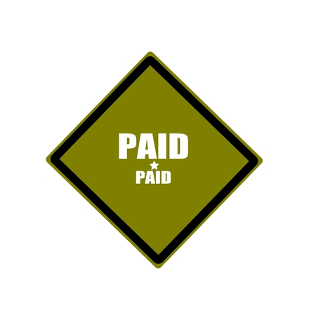 paid: paid white stamp text on green background Stock Photo