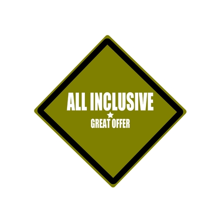 inclusive: All inclusive white stamp text on green background