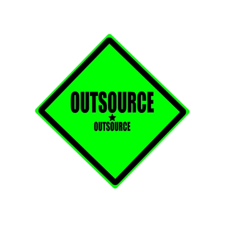 acception: Outsource black stamp text on green background Stock Photo
