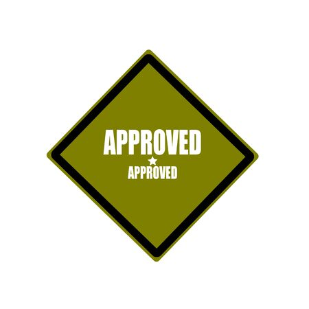 acception: approved white stamp text on green background