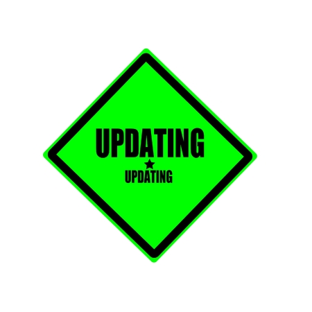 updating: Updating black stamp text on green background
