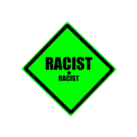 discriminate: Racist black stamp text on green background Stock Photo
