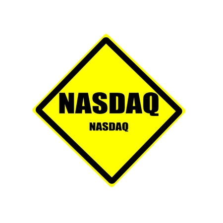nasdaq: NASDAQ black stamp text on yellow backgroud Stock Photo