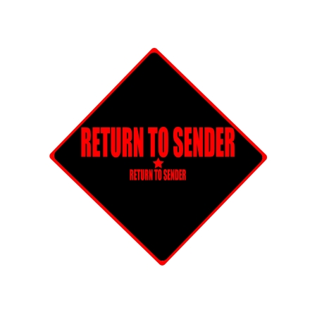 payee: Return to sender red stamp text on black background