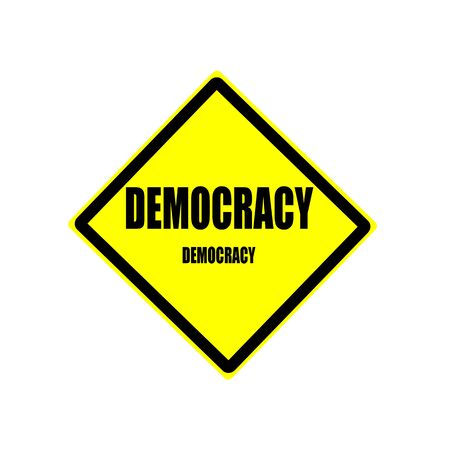 voted: Democracy black stamp text on yellow background