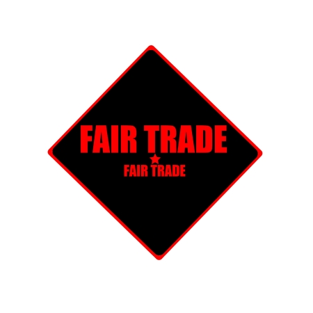 fair trade: Fair Trade red stamp text on black background