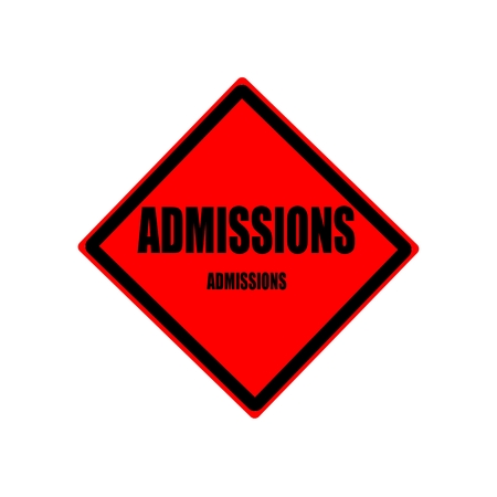 admissions: Admissions black stamp text on red background Stock Photo