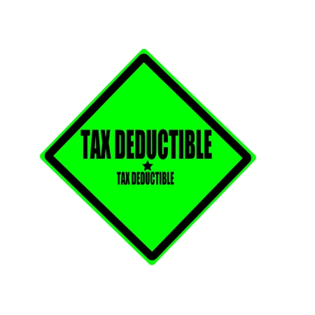 taxman: Tax deductible black stamp text on green background