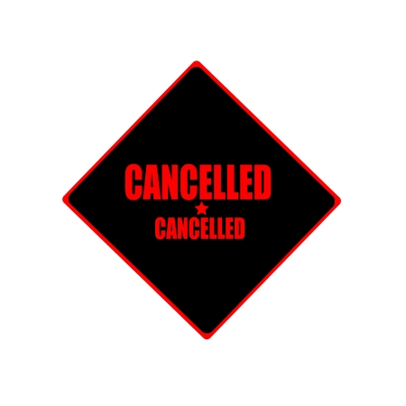 sanctioned: Cancelled red stamp text on black background