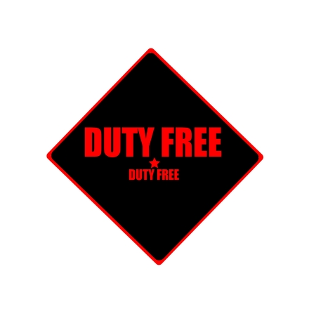 duty free: Duty free red stamp text on black background