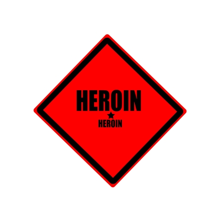 heroin: Heroin black stamp text on red background Stock Photo