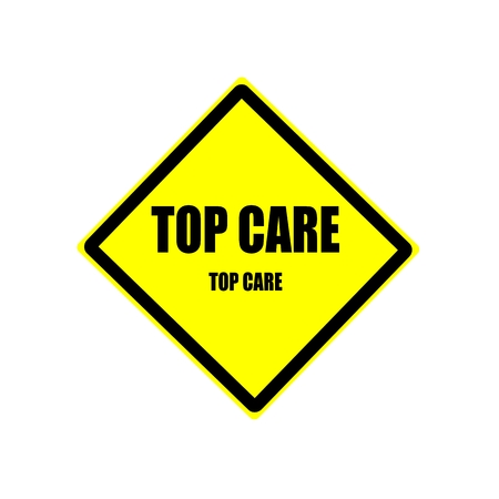 solicitude: Top care black stamp text on yellow background